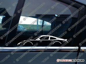 2x sports Car Silhouette sticker - Porsche 911 Turbo ( 991 )